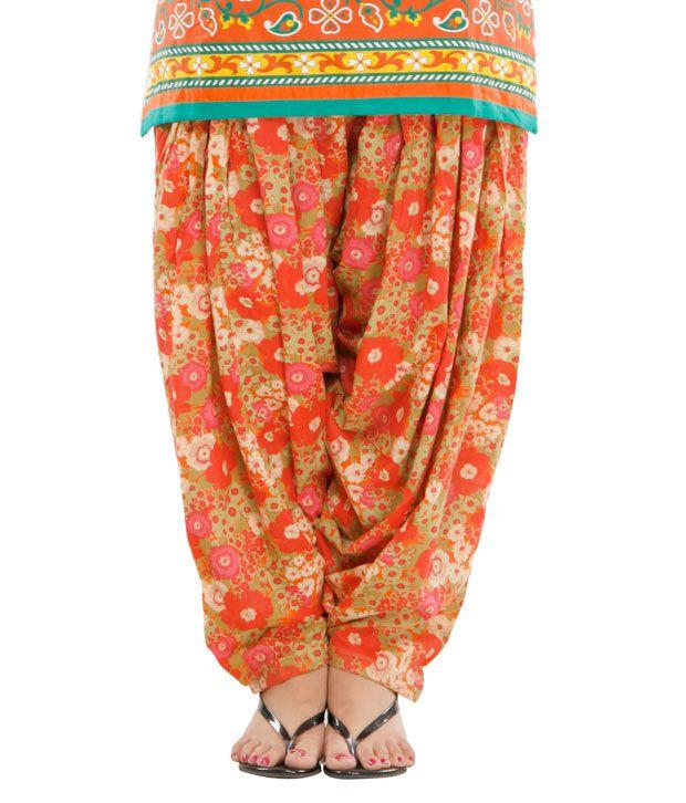G Smart Red & Henna Green Patiala Salwar