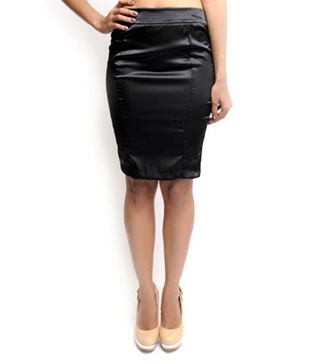 Buy N Gal Black Satin Pencil Skirt Online at Best Prices
