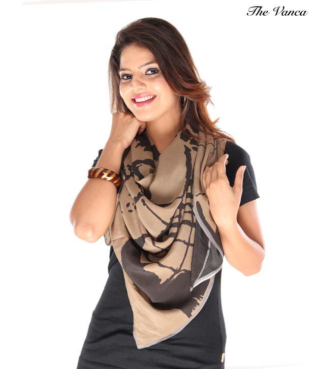 The Vanca Stunning Beige & Black Abstract Print Stole