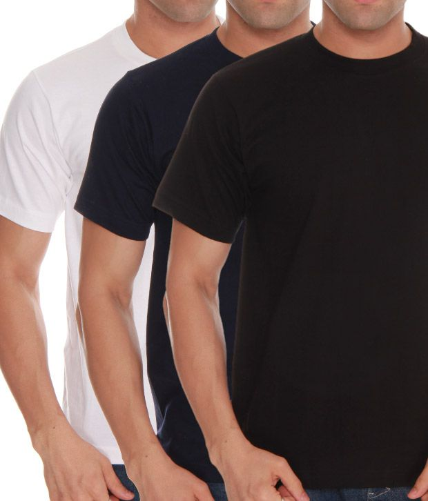 Absolut Zero White- Black- Blue Pack Of 3 T-Shirts