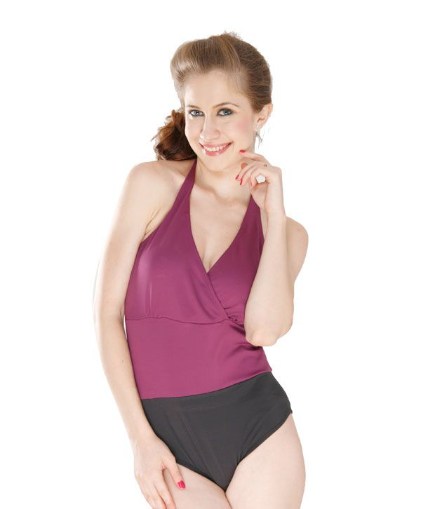 Curves Black & Purple Halter Swimsuit With Contrast Bodice/ Swimming Costume