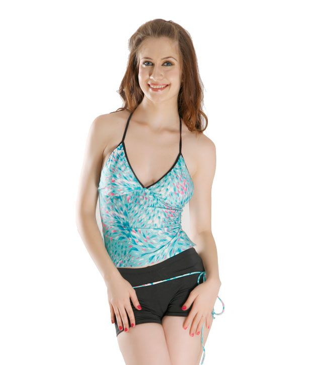 Curves Sea Blue & Black Tankini With Shorts Cont Piping