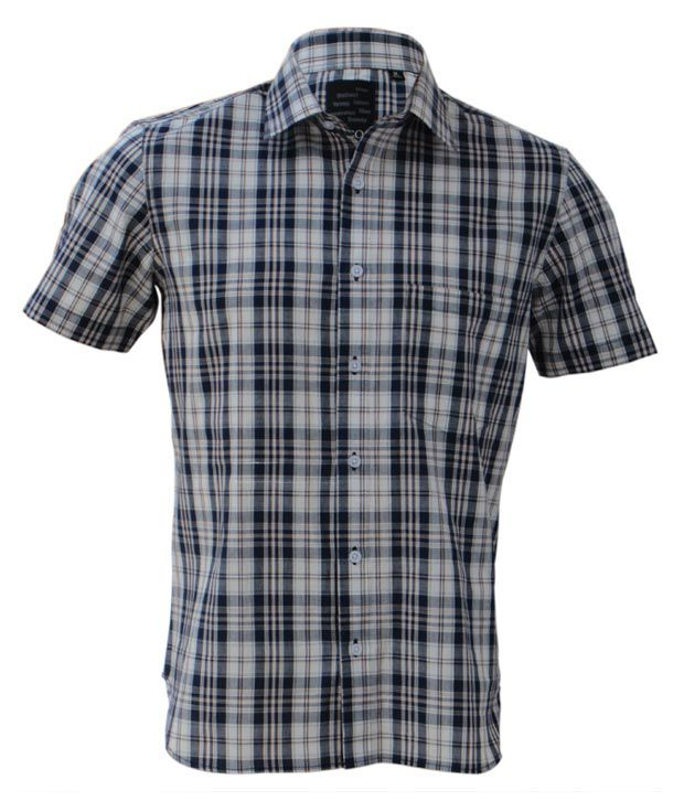 Rigo Blue-White Formal Check Shirt