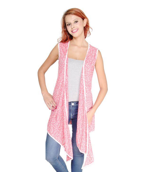 Belle Fille Pink Floral Printed Shrug