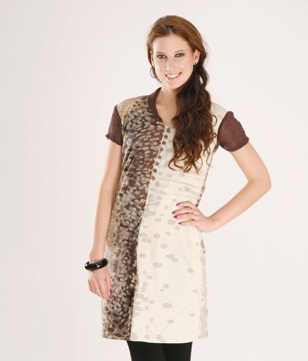 Desivogue Brown Poly Cotton Tunics