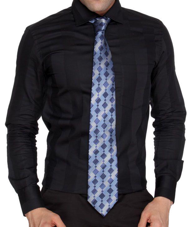 Marc Elegant Blue Pure Silk Necktie