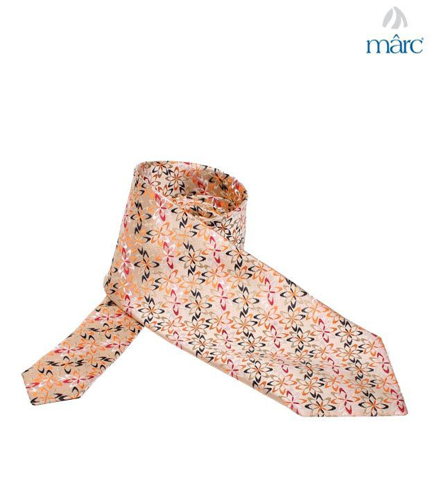 Marc Peach Flower Stitch Necktie