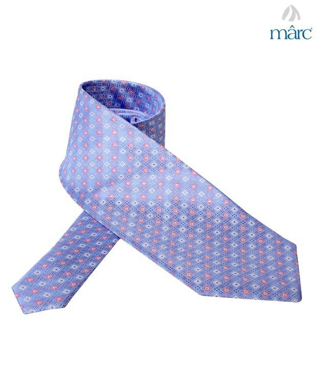Marc Blue Square Stitch Necktie