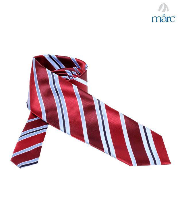 Marc Maroon Diagonal Stripes Necktie