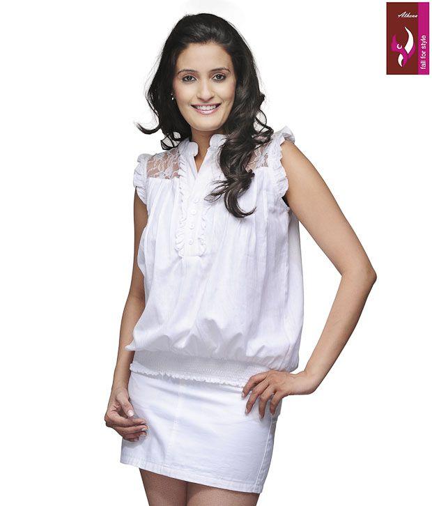 Athena White Poly Cotton Tops