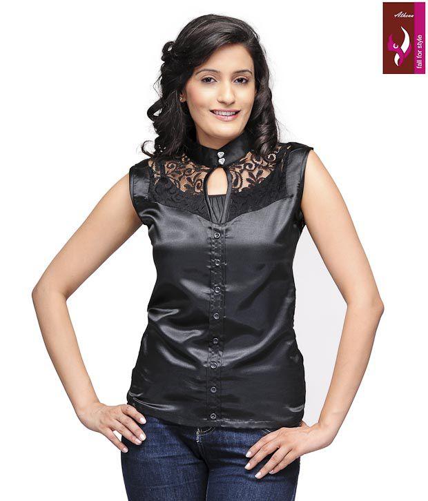Athena Black Poly Cotton Tops
