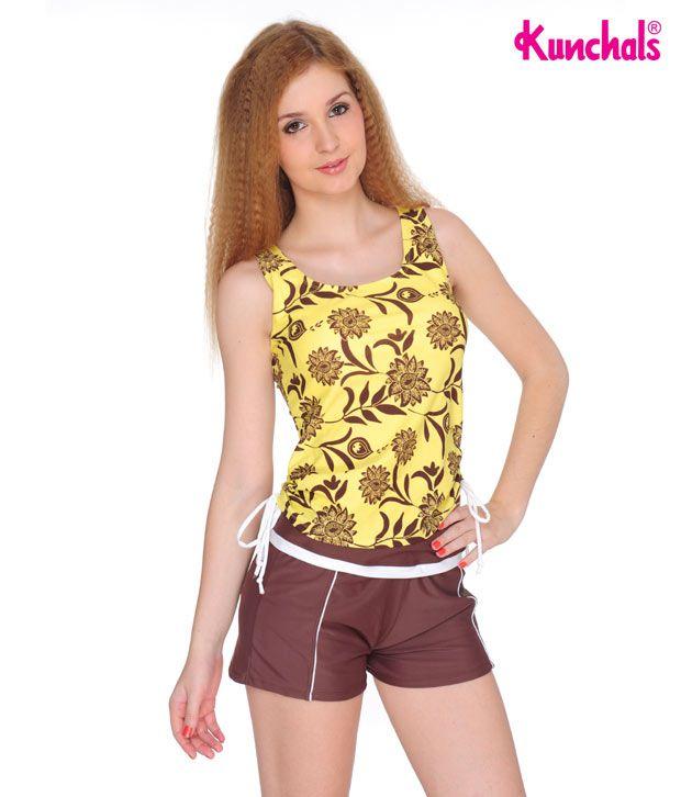 Kunchals Yellow Polyamide and Elastane Lycra Swimwear
