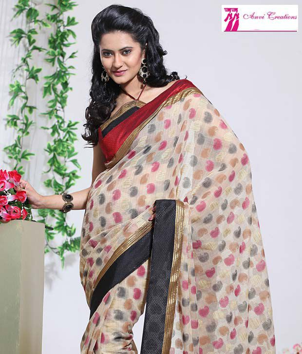 Anvi Creations Off White Cotton Silk Saree