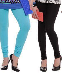Rham Turquoise Blue-Black Leggings Combo Of 2