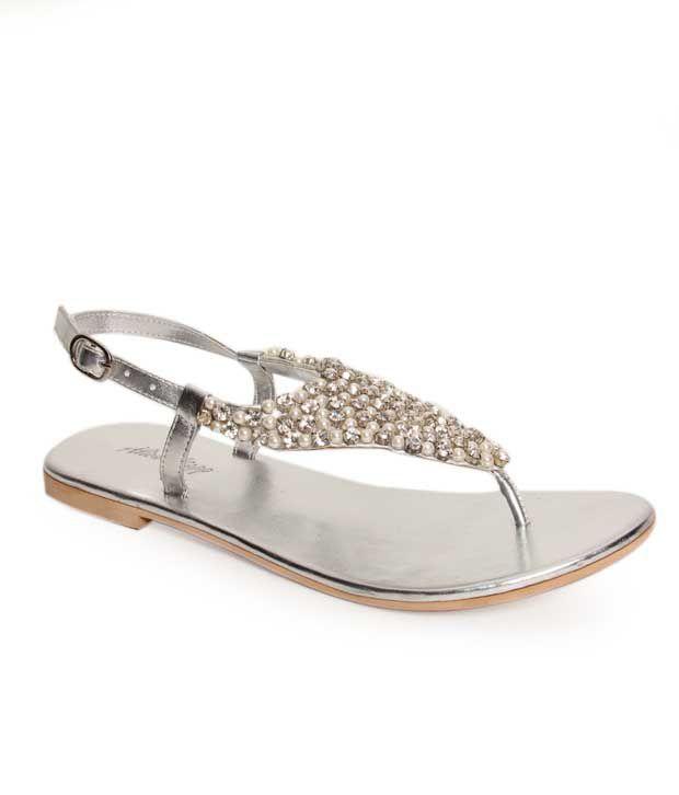 Oscar Enchanting Silver Flat Sandals