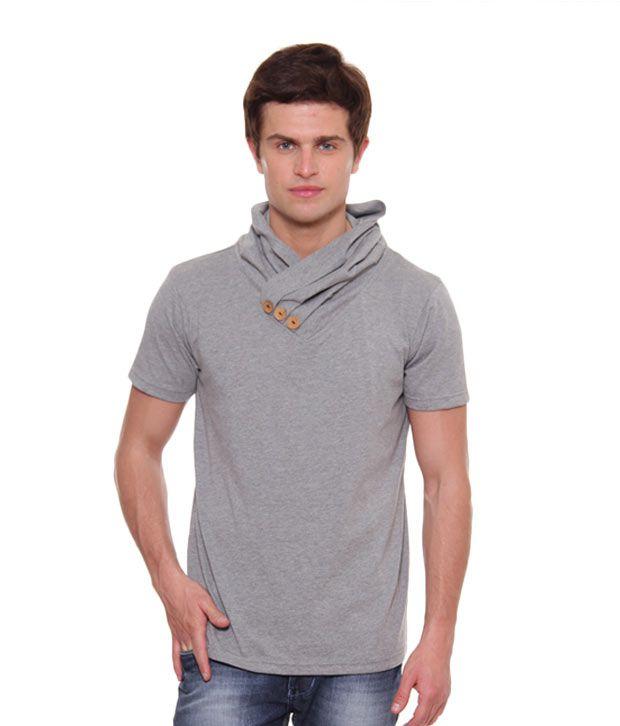 A for F Grey Melange High Neck T-Shirt