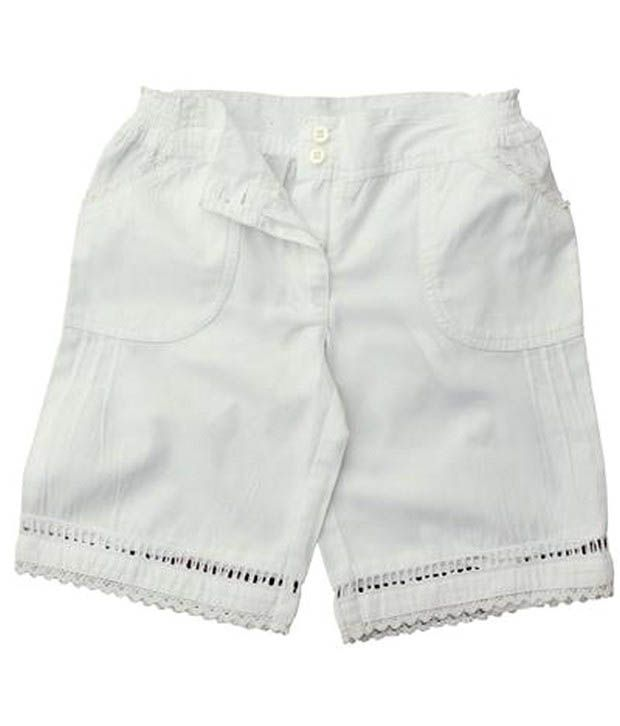 ShopperTree Vibrant Off-White Shorts For Kids