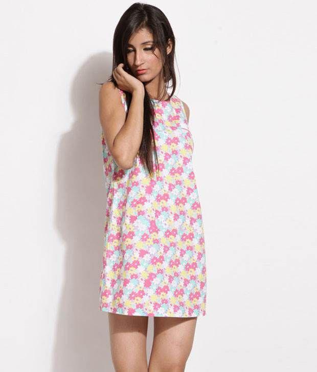 Debenhams White-Pink Printed Cotton Dress