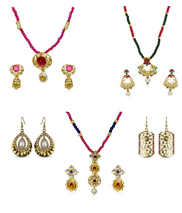 Kshitiz Jewels Three Pendant Sets & Two Earrings Combo