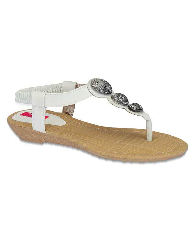 Aria Chic White Flat Sandals