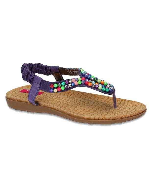 Aria Ethnic Purple Flat Sandals