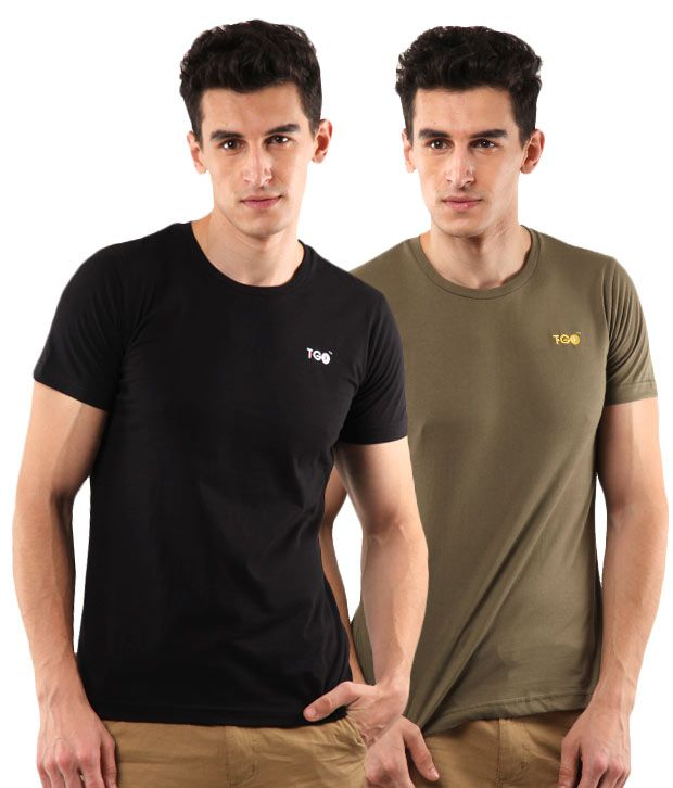 T-Go Black-Olive Pack of 2 T-Shirts