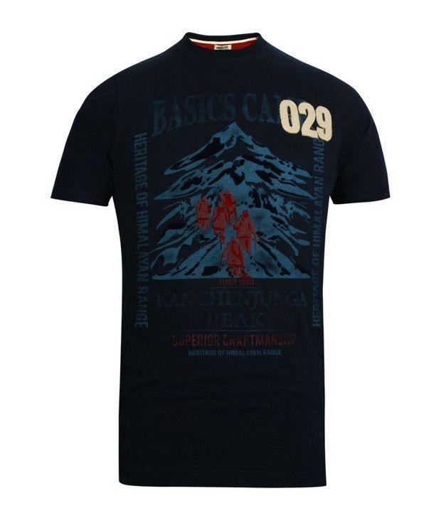 Basics 029 Navy Printed T-Shirts