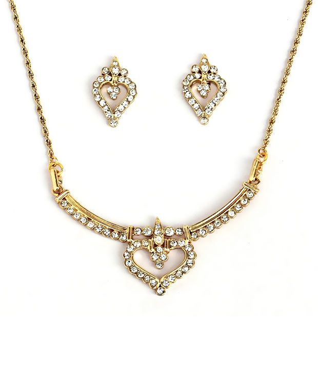 Touchstone Golden AD Finely Crafted Necklace Set