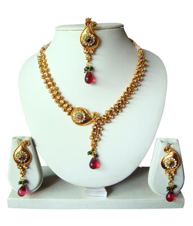Apsara Fine Design Paisley Necklace Set With Maang Tika