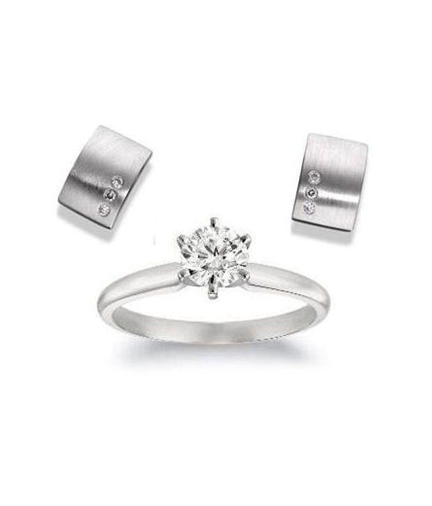 AG Solitaire Ring & Huggie Earrings Combo