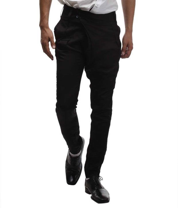 I Know Black Pleated Designer Trousers