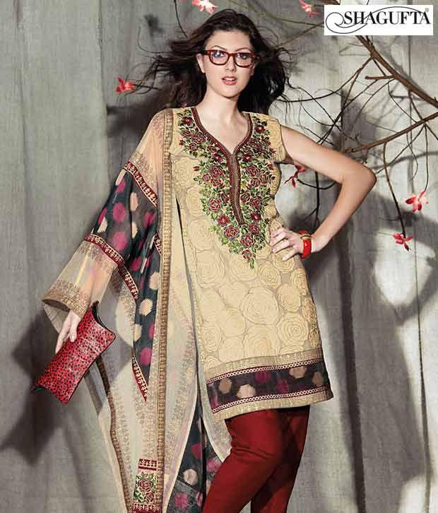 Shagufta Chanderi Banarasi Silk Suit-B-503