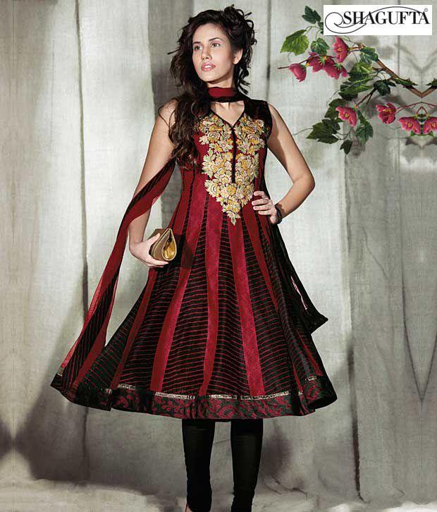 Shagufta Chanderi Banarasi Silk Suit-B-505