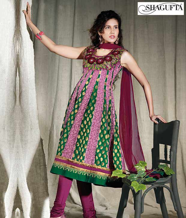 Shagufta Chanderi Banarasi Silk Suit- B-511