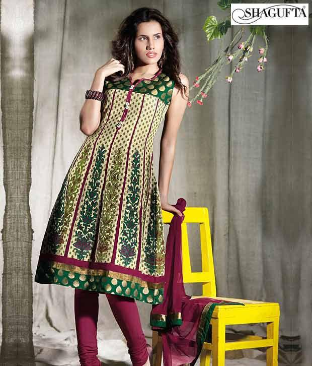 Shagufta Chanderi Banarasi Silk Suit-B-535