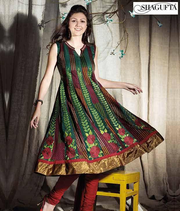 Shagufta Chanderi Banarasi Silk Suit-B-536