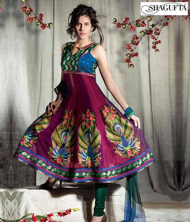 Shagufta Chanderi Banarasi Silk Suit-B-542