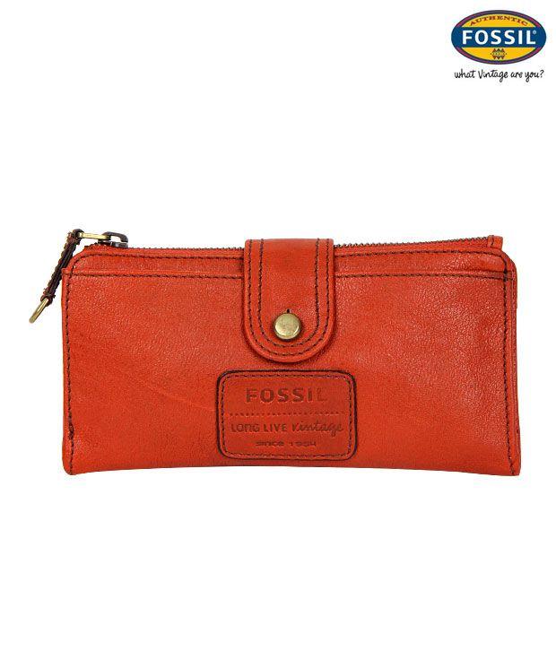 Fossil Orange Leather Wallet