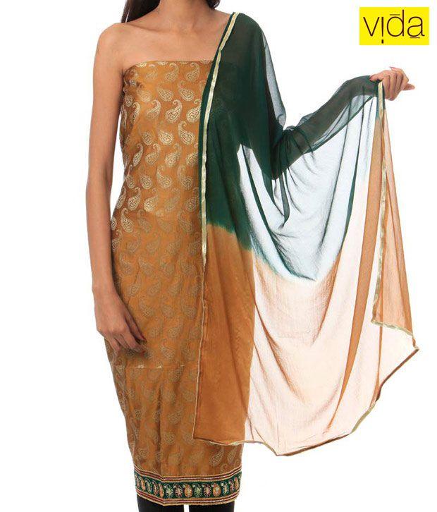 Vida Mustard Paisley Salwar Suit-111073
