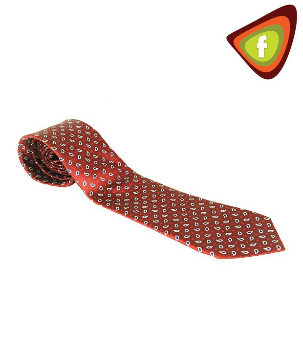F-Ties Red Tie With Blue Paisley Designs