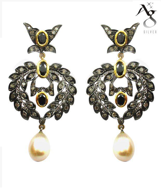 AG Victorian Onyx & Pearl Diamond Earrings