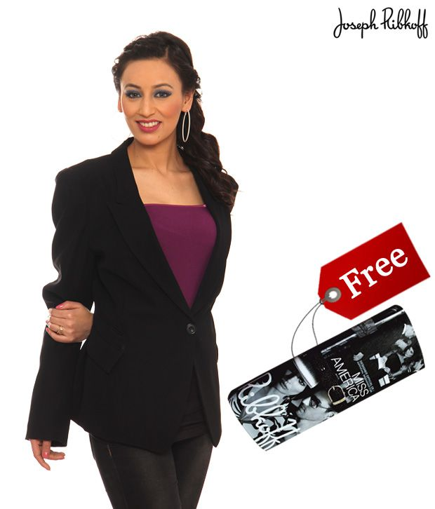 Joseph Ribkoff Classic Black Coat- 12350 With Free Clutch