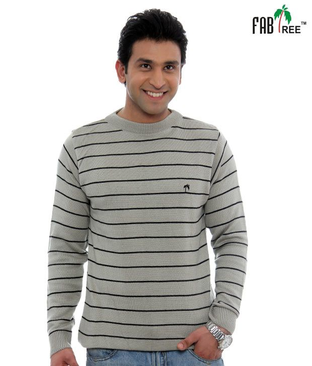 Fabtree Grey Striped Pullover-SK-513-GY