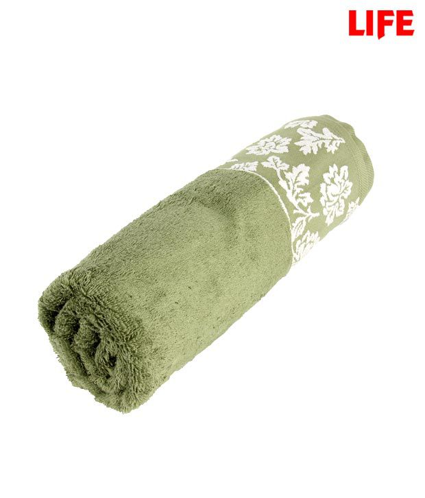 Life Olive Green Jacquard Towel (Tow-011)
