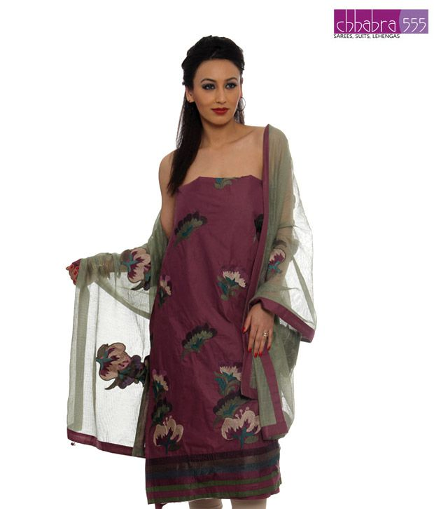 Chhabra Violet Cotton Un-stitched Suit-WKTO8995-4