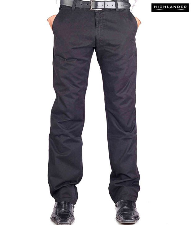 Highlander Black Casual Trouser HLTR002872