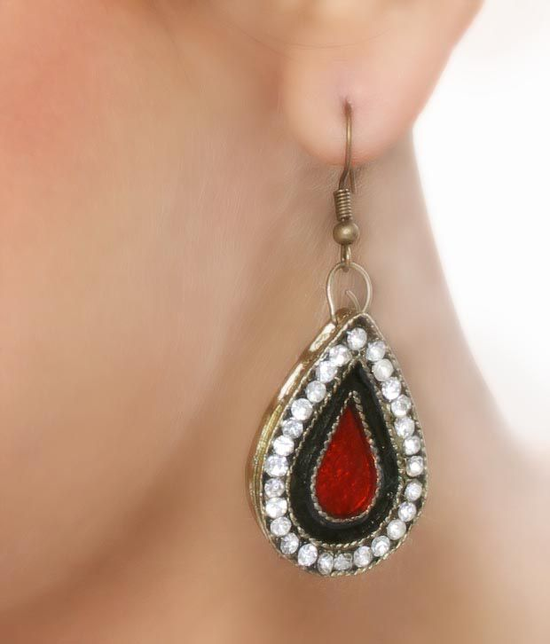 Pari Ethnic Red Earrings