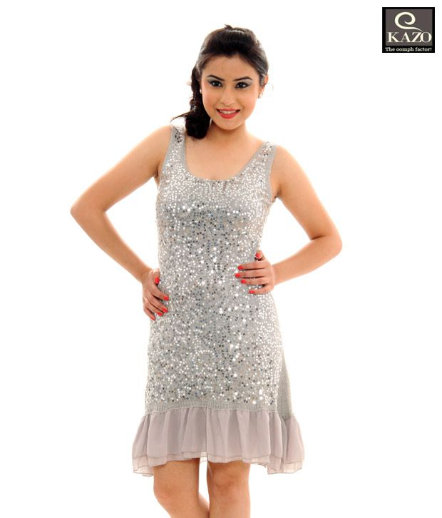 7ce9378295 Kazo Ravishing Silver Glossy One Piece Dress(90940Silverm) - Buy Kazo  Ravishing Silver Glossy One Piece Dress(90940Silverm) Online at Best Prices  in India ...