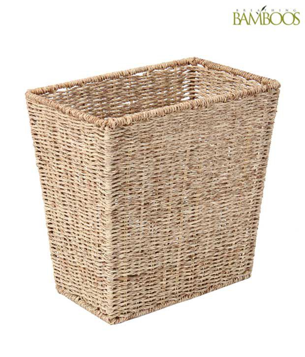 Breathing bamboos jute waste basket buy breathing bamboos for Decoratives from waste