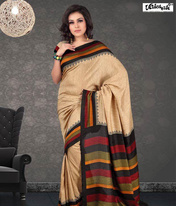 Vaishali Maroon-Beige Pashmina Silk Saree(PrintedSaree-1001C)